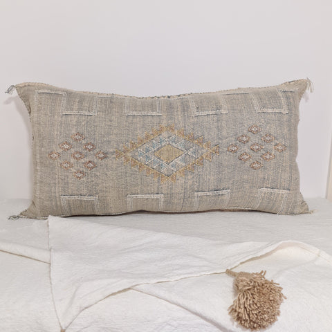 Large Soft Grey Moroccan sabra Cactus Pillow cover , handmade Large Lumbar berber Moroccan Boho cactus cushion cover 37X20