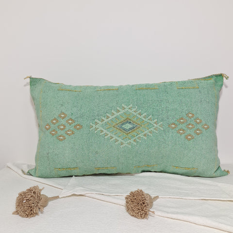 Large Soft turquoise  Moroccan sabra Cactus Pillow cover , handmade Large Lumbar berber Moroccan Boho cactus cushion cover 37X20