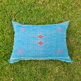 Blue Moroccan Lumbar Sabra Cushion Cover , Cactus Silk Pillow Throw