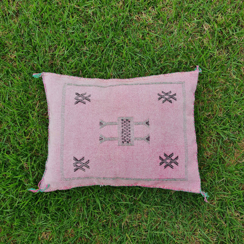 Light pink Moroccan Lumbar Sabra Cushion Cover , Cactus Silk Pillow Throw
