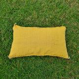 Yellow Moroccan Lumbar Sabra Cushion Cover , Cactus Silk Pillow Throw