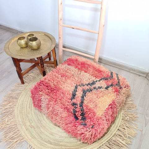 Red Vintage Moroccan Floor Pouf 20%OFF || Vintage berber Moroccan wool Pouf || Unique Footstool unfilled