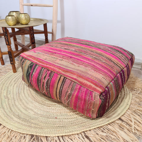 Vintage Moroccan Floor Pouf 20%OFF || Vintage berber Moroccan wool Pouf || Footstool unfilled