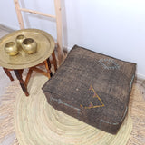 Brown moroccan cactus sabra Pouf , Cactus Silk Floor Pillow / Footstool unfilled
