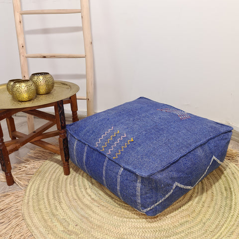 Blue moroccan cactus sabra Pouf , Cactus Silk Floor Pillow / Footstool unfilled