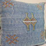 Blue sabra Cactus Pillow cover  , handmade berber Moroccan Bohemian cactus cushion cover