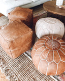 SET OF 2 Tan Square leather pouf / Best quality Moroccan ottoman Leather Pouf / Footstool Pouffe for living room