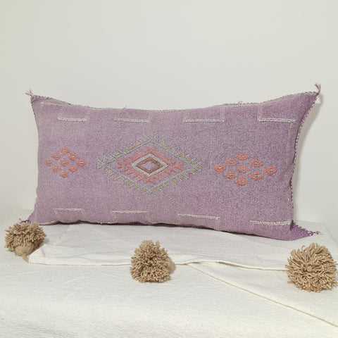 Large Soft Purple Moroccan sabra Cactus Pillow cover , handmade Large Lumbar berber Moroccan Boho cactus cushion cover 37X20