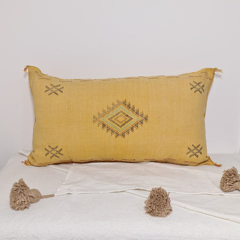 Large Soft yellow Moroccan sabra Cactus Pillow cover , handmade Large Lumbar berber Moroccan Boho cactus cushion cover 37X20