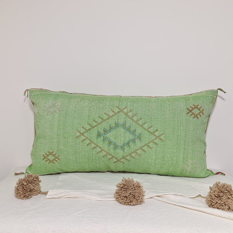 Large Soft green  Moroccan sabra Cactus Pillow cover , handmade Large Lumbar berber Moroccan Boho cactus cushion cover 37X20