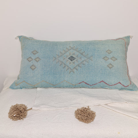 Large Soft Blue  Moroccan sabra Cactus Pillow cover , handmade Large Lumbar berber Moroccan Boho cactus cushion cover 37X20
