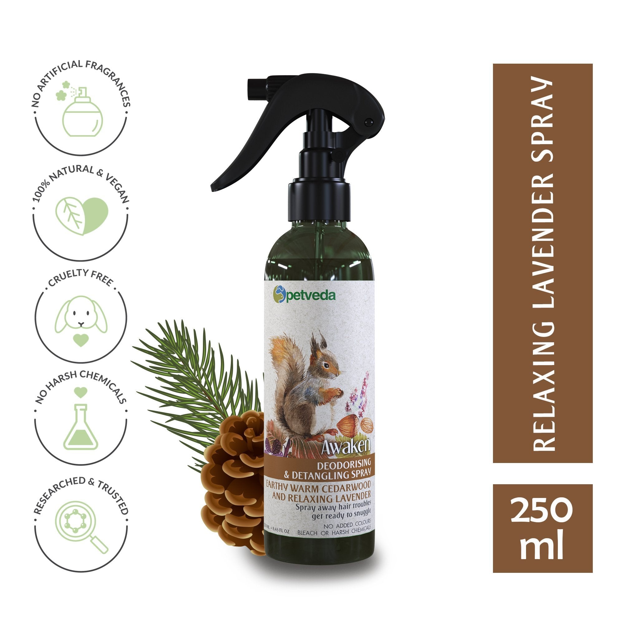 Awaken - Warm Earthy Cedarwood & Relaxing Lavender Deodorizing Spray 250ml