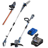 20V hedge trimmer, pole saw, string trimmer and edger, and battery and charger on a white background