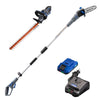 Westinghouse 20V hedge trimmer, pole saw, and battery and charger on a white background