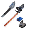 20V leaf blower, hedge trimmer, and battery and charger on a white background