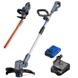 20V hedge trimmer, string trimmer and edger, and battery and charger on a white background