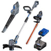 20V leaf blower, string trimmer and edger, hedge trimmer, and battery and charger on a white background