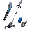 40V leaf blower, string trimmer and edger, and battery and charger on a white background.
