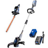 40V hedge trimmer, string trimmer and edger, and battery and charger on a white background.
