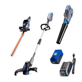 40V hedge trimmer, string trimmer and edger, leaf blower, and battery and charger on a white background
