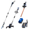 40V pole saw, string trimmer and edger, hedge trimmer, and battery and charger on a white background.