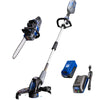 40V chain saw. string trimmer and edger, and battery and charger on a white background