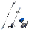 40V pole saw, string trimmer and edger, and battery and charger on a white background