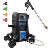 The Westinghouse ePX3000 electric pressure washer on a white background with the wand out and along the left side are the different nozzle tips for the wand.