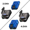 20V Battery and Charger Starter Kit. Both 2 Ah and 4 Ah shown on white background.
