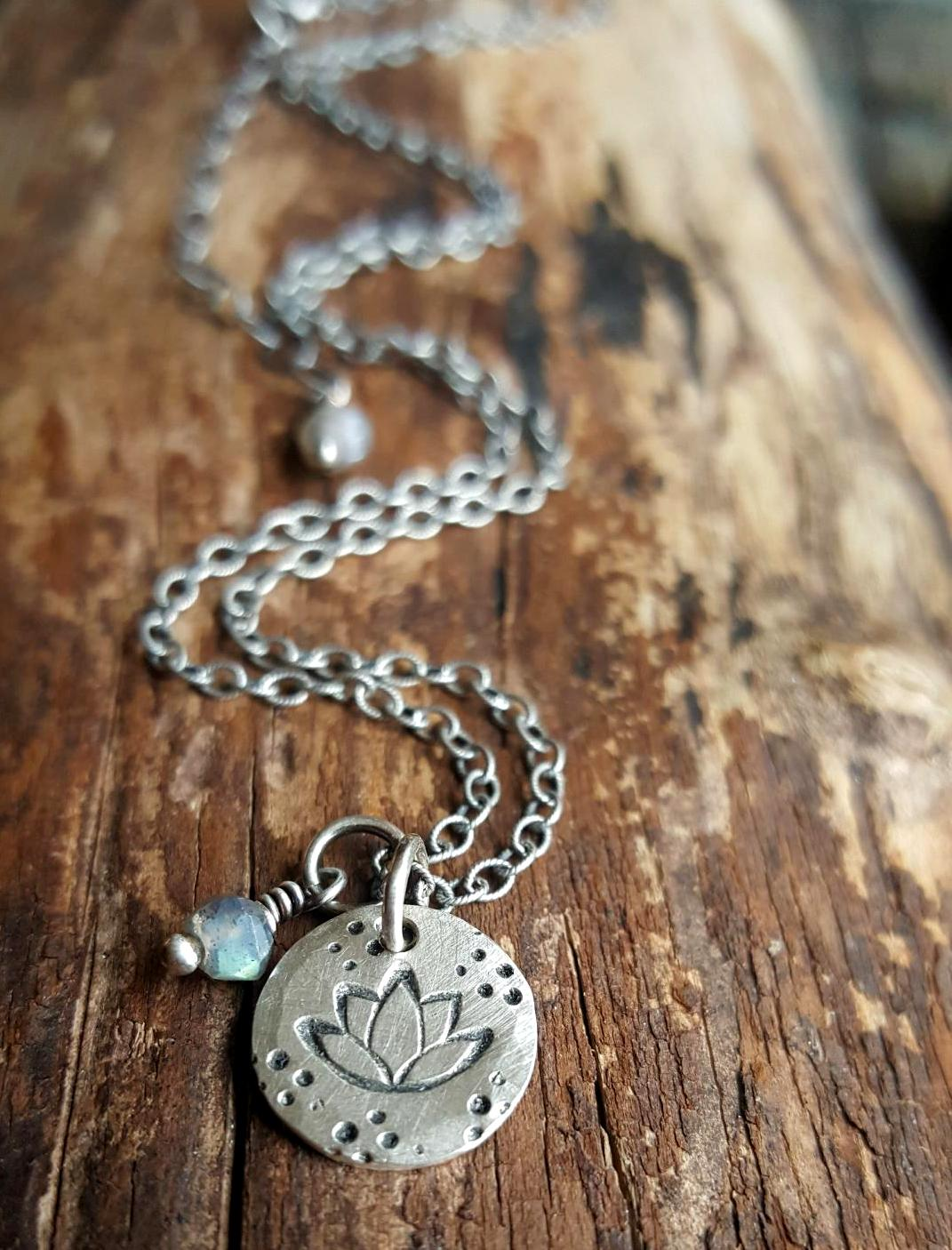 Sterling Silver Lotus Flower Necklace With Labradorite Silver Pirate