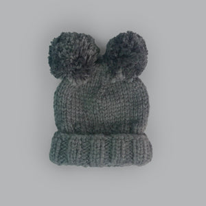 Paxton Double Pom Kids Knit Beanie - Gray