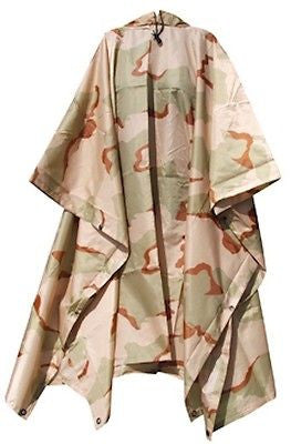 Army Military Tr-Color Camo Rip-Stop Poncho