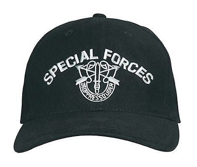 Black Special Forces Hat Low Profile Insignia Cap