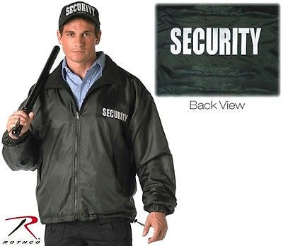 "Black ""Security"" Nylon / Polar Fleece Reversible Jacket"