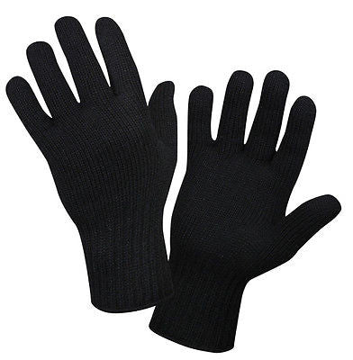 Black Wool Glove Liners, USA Made, Army Military Glove