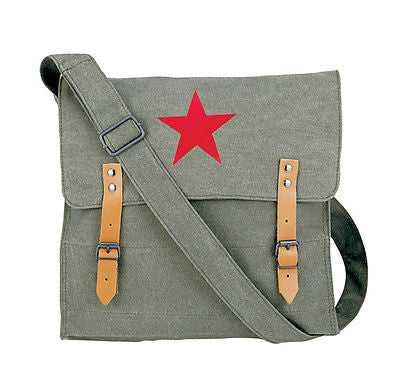 Olive Drab Canvas Classic Bag w/ Red Star
