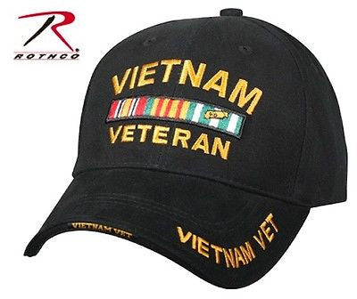 Black Vietnam Vet Hat Deluxe Low Profile Insignia Cap