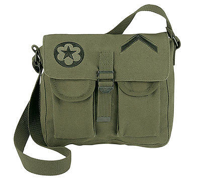Olive Drab Canvas 2-Pocket Shoulder Bag w/ Embroidered Military Patches