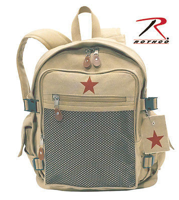 Khaki Vintage Canvas Star Backpack