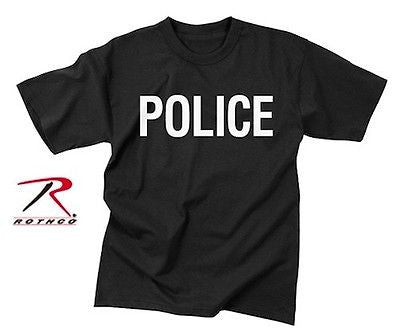 Official Police Issue Black Double-Sided Raid T-Shirt NEW sizes  S-3XL