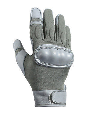 KEVLAR Tactical Combat Gloves Hard KNUCKLE Grey Leather Fire Resistant military