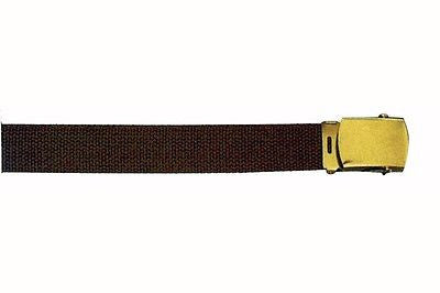 Brown Reversible Web Belt With Gold Buckle 44""