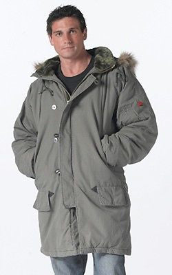 Army Military Vintage N-3B OD Parka with Fur Collar