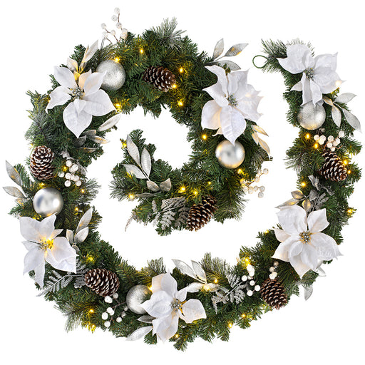 Extra-Thick Decorated Pre-Lit Garland with 80 Warm White LED Lights 9 ft / 2.7 m