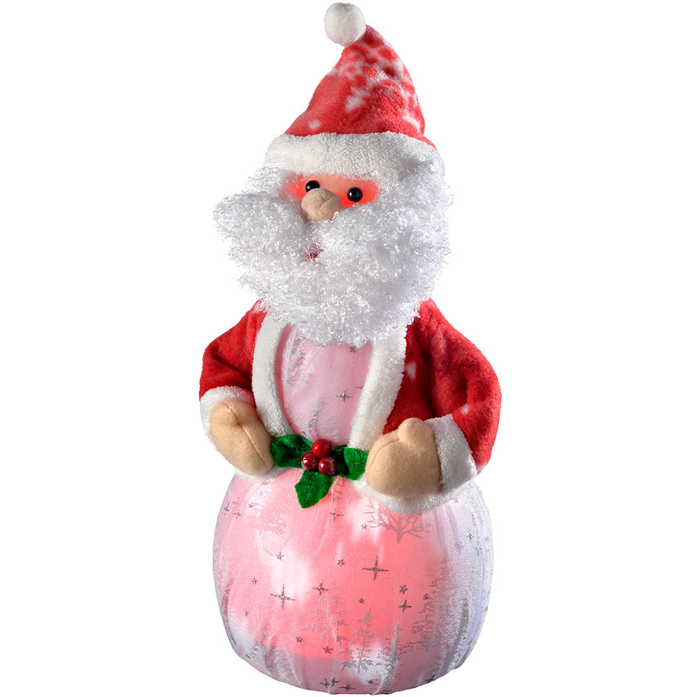 Santa with 8 Musical Songs and Snowing Effect Colour LED Body, 34 cm - Medium