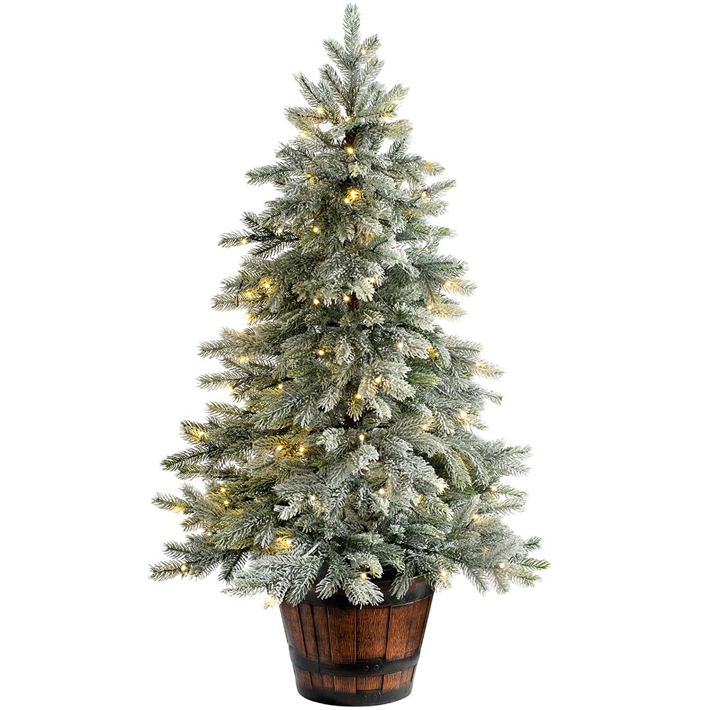 Snow Flocked Potted Christmas Tree with Dual Warm / Ice White LED Lights 4 ft / 1.2 m