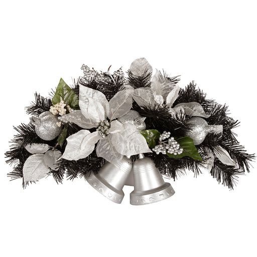 30 cm Decorated Twin Bell Wall Christmas Decoration, Black and Silver