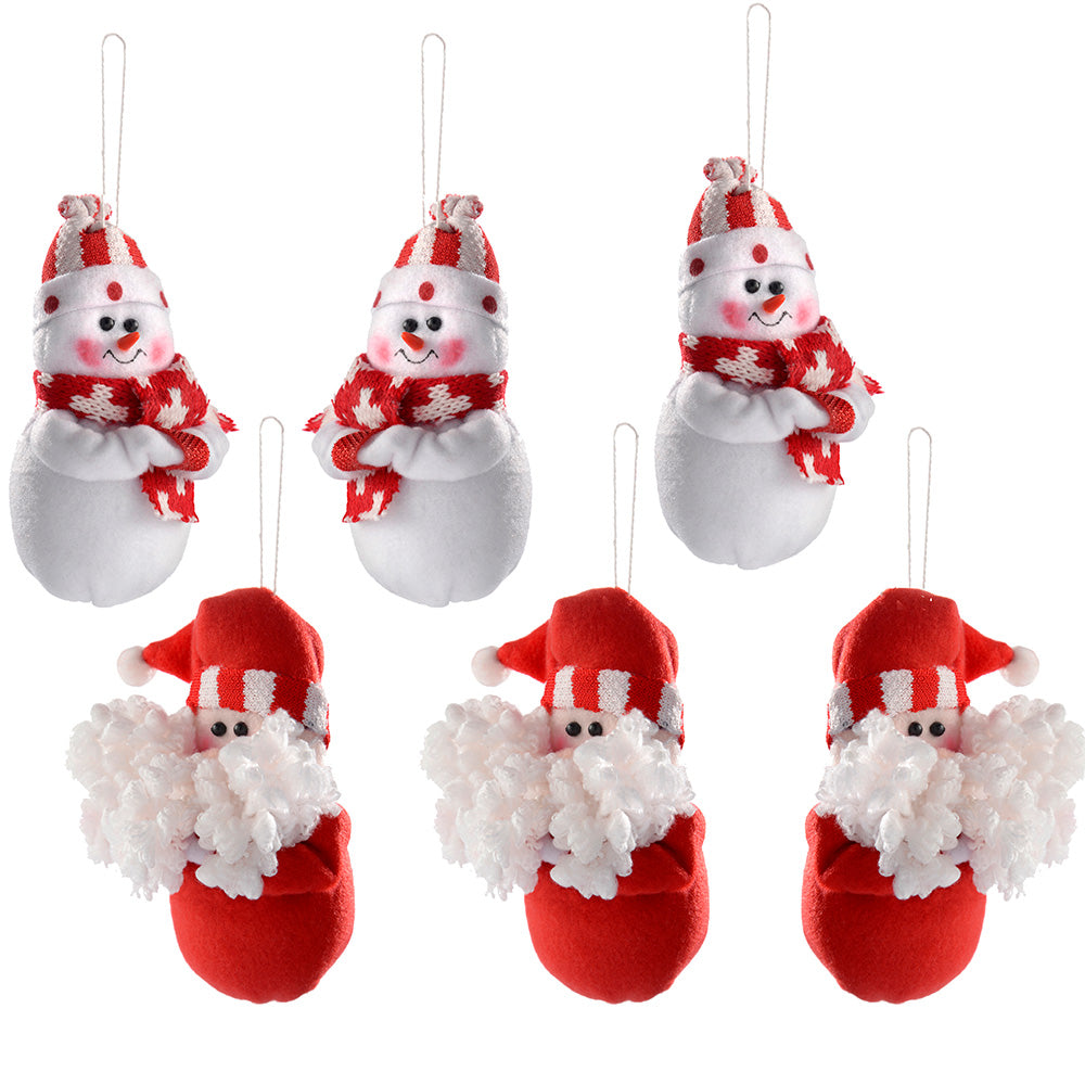 Hanging Christmas Decorations, 13.5 cm - Red/White, Set of 6