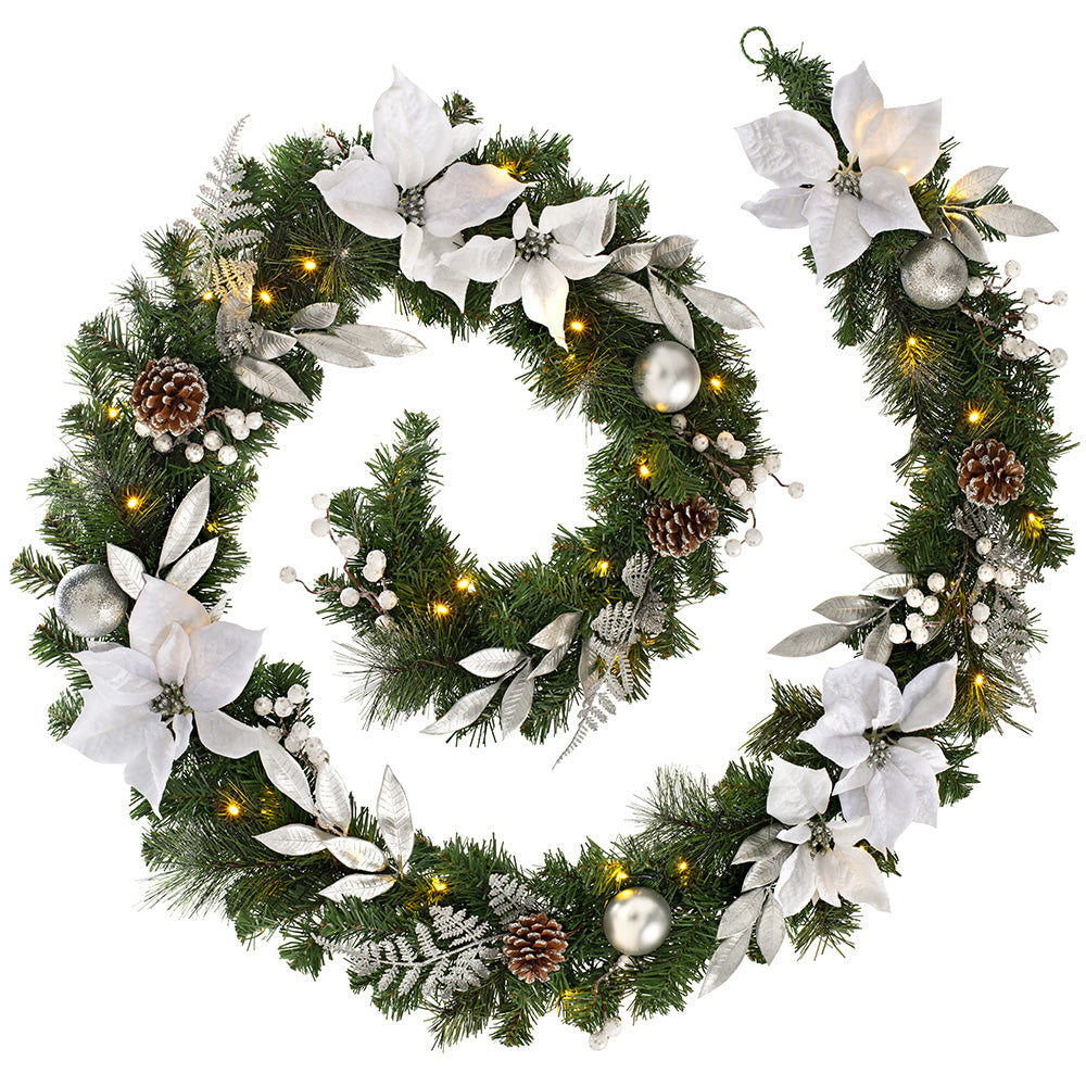 Pre-Lit Decorated Christmas Garland with 40 Warm White LED Lights 9 ft / 2.7 m