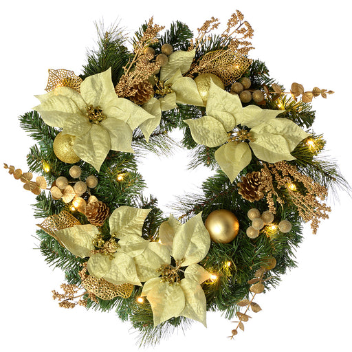 Decorated Pre-Lit Wreath Christmas Decoration with 20 Warm LED Lights, 60 cm - Cream/Gold
